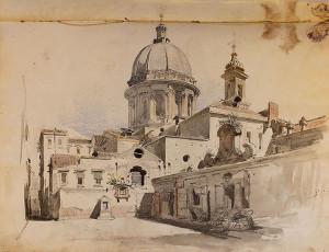 Napoli: chiesa dello Spirito Santo, pastello e inchiostro acquerellato su carta | Teodoro Duclère