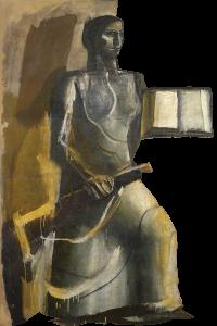 Figura femminile con libro e moschetto | Mario Sironi