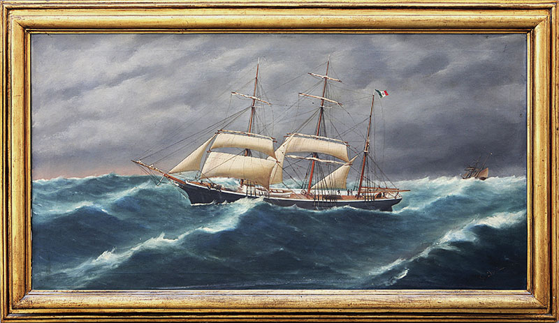 De Simone, un brigantino a palo alto in mare.