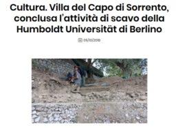 Cultura. Villa del Capo di Sorrento, conclusa l'attività di scavo della Humboldt Universität di Berlino